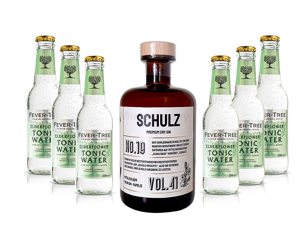 Mein Gin - Schulz Premium Dry Gin 0,5l (41% Vol) - Schulz s Gin No.19 + 6x Fever-Tree Elderflower Tonic Water 200ml inkl. Pfand MEHRWEG -[Enthält Sulfite]