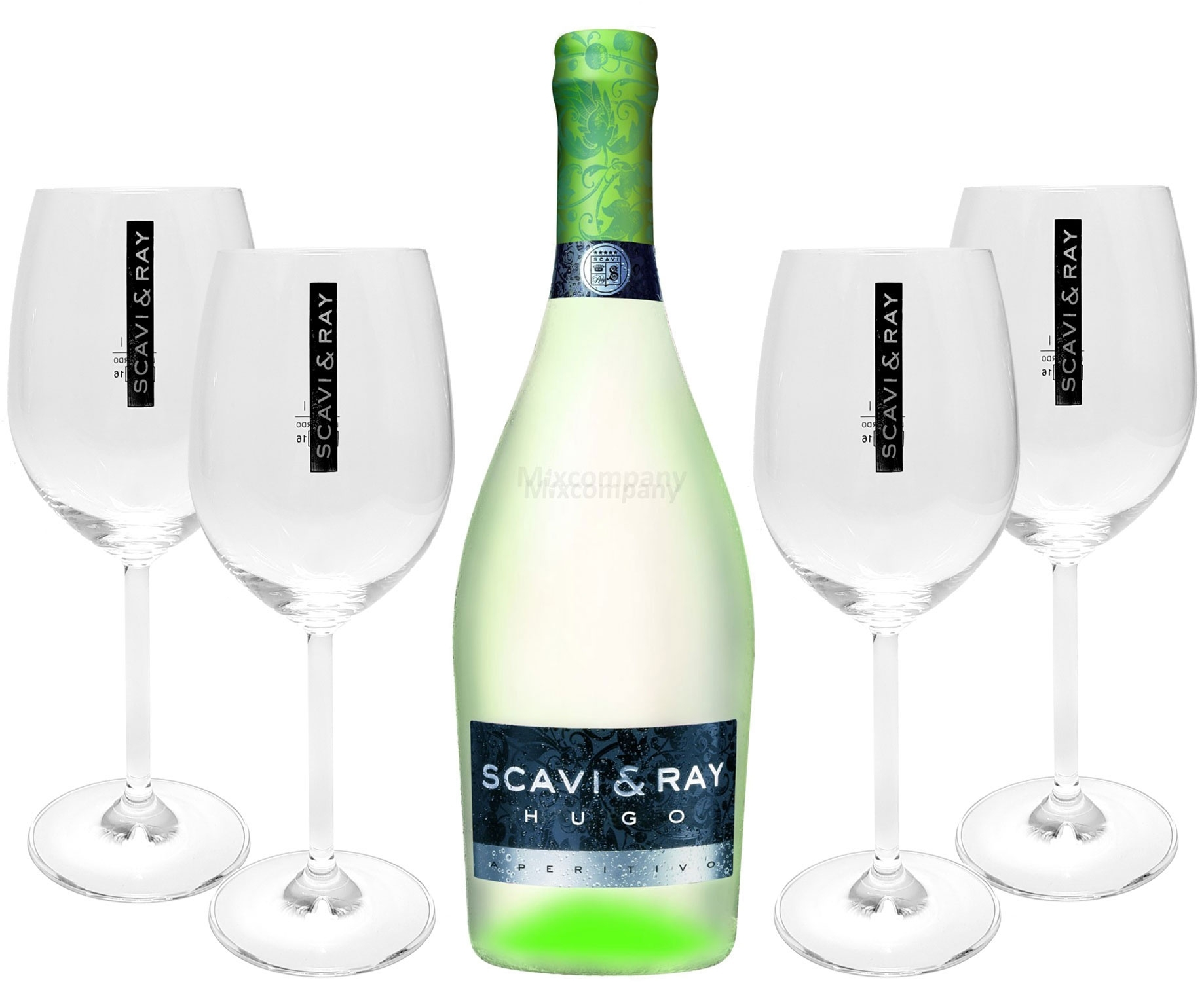 Scavi & Ray Hugo Aperitivo 0,75l (6% Vol) + 4x Ballon Gläser (20cl) -[Enthält Sulfite]