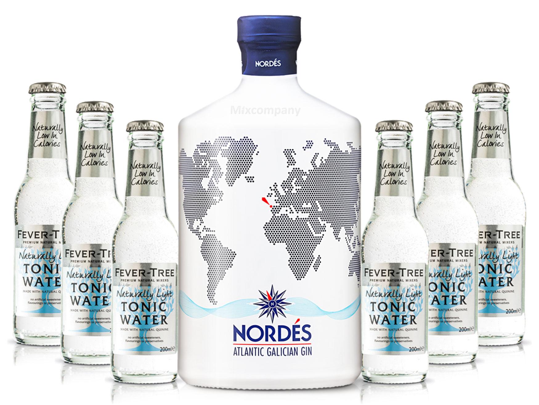 Nordes Atlantic Galician Gin aus Galizien 0,7l (40% Vol) + 6x FEVER-TREE Naturally Light Indian Tonic Water 0,2l MEHRWEG inkl. Pfand- [Enthält Sulfite]