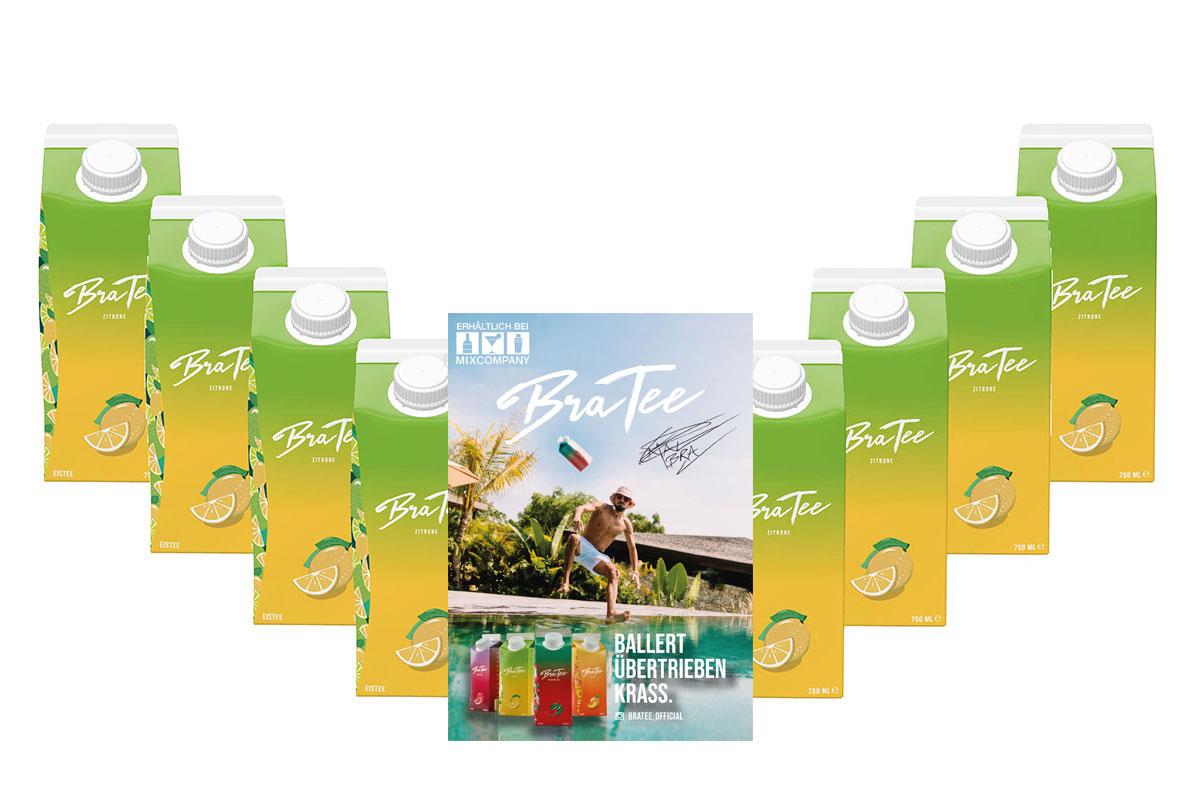 Capital BraTee 8er Set Eistee Zitrone Lemon 750ml Ice tea + Autogrammkarte - BRATEE übertrieben frisch, ohne viel Heck-Meck