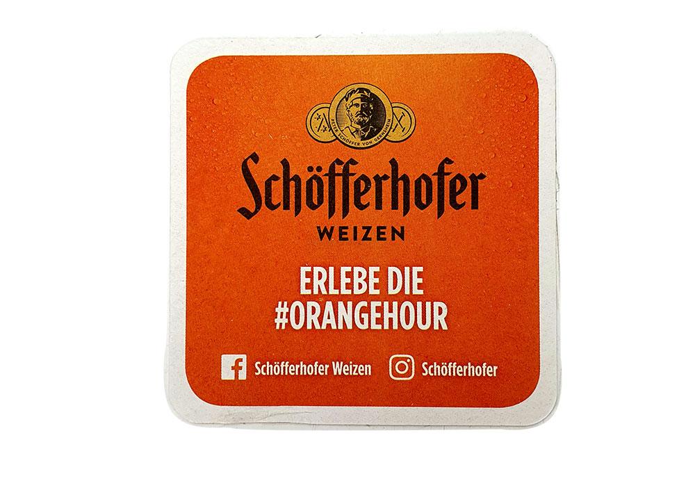 Schöfferhofer Bierdeckel in Orange - Untersetzer / Bierdeckel / Deckel / 70 er Paket