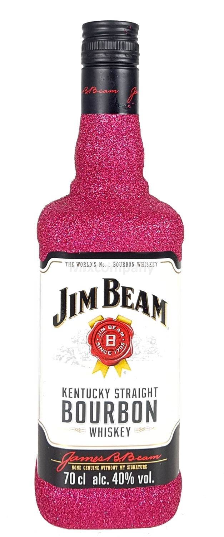 Jim Beam Bourbon Whiskey 0,7l 700ml (40% Vol) Bling Bling Glitzerflasche in hot pink -[Enthält Sulfite]