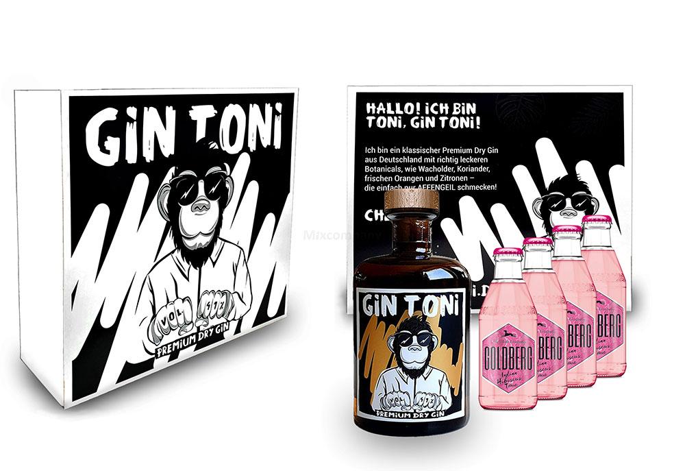 Gin Tonic Giftbox Geschenkset - Affengeiler Gin - Gin Toni Premium Dry Gin 0,5l (41% Vol) + 4x Goldberg Hibiskus Tonic Water 200ml inkl. Pfand MEHRWEG -[Enthält Sulfite]