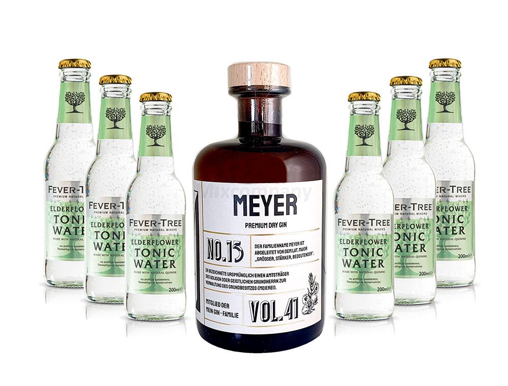 Mein Gin - Meyer Premium Dry Gin 0,5l (41% Vol) - Meyer s Gin No.13 + 6x Fever-Tree Elderflower Tonic Water 200ml inkl. Pfand MEHRWEG -[Enthält Sulfite]