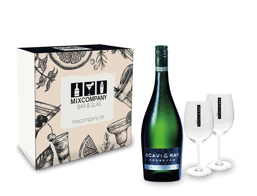 Scavi & Ray Geschenkset - Scavi & Ray Prosecco Frizzante 0,75l (10,5% Vol) + 2x Ballon Gläser (20cl) -[Enthält Sulfite]