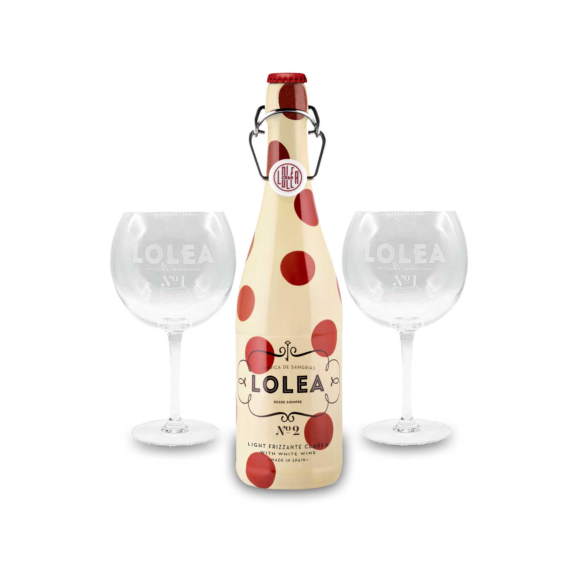 Lolea Set - 2 Ballongläser + Lolea Sangria N°2 WEIß 0,75L (7% Vol) Weißwein Sangria Chardonnay, Macabeo Trauben- [Enthält Sulfite]