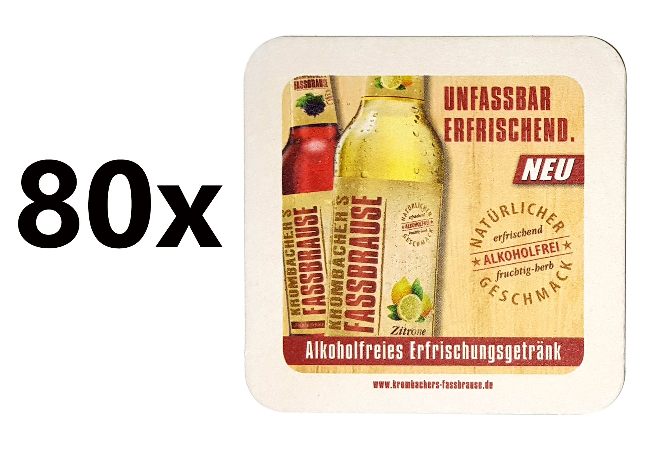 Krombacher Faasbrause Bierdeckel Untersetzer Unterlage Pappdeckel Bierfilz - 80er Packung