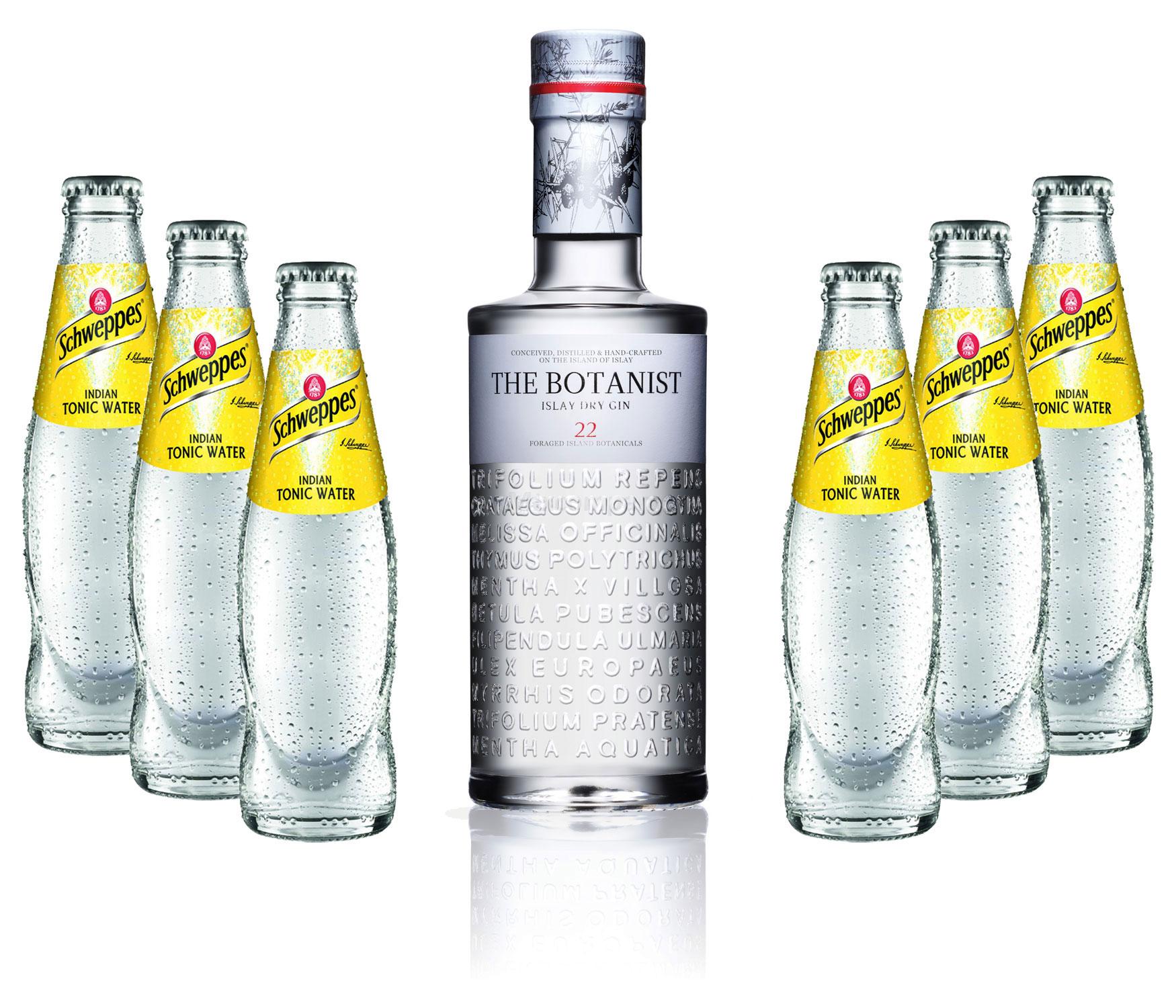 Gin Tonic Set - The Botanist Islay Dry Gin 0,7l 700ml (46% Vol) + 6x Schweppes Tonic Water 200ml inkl. Pfand MEHRWEG