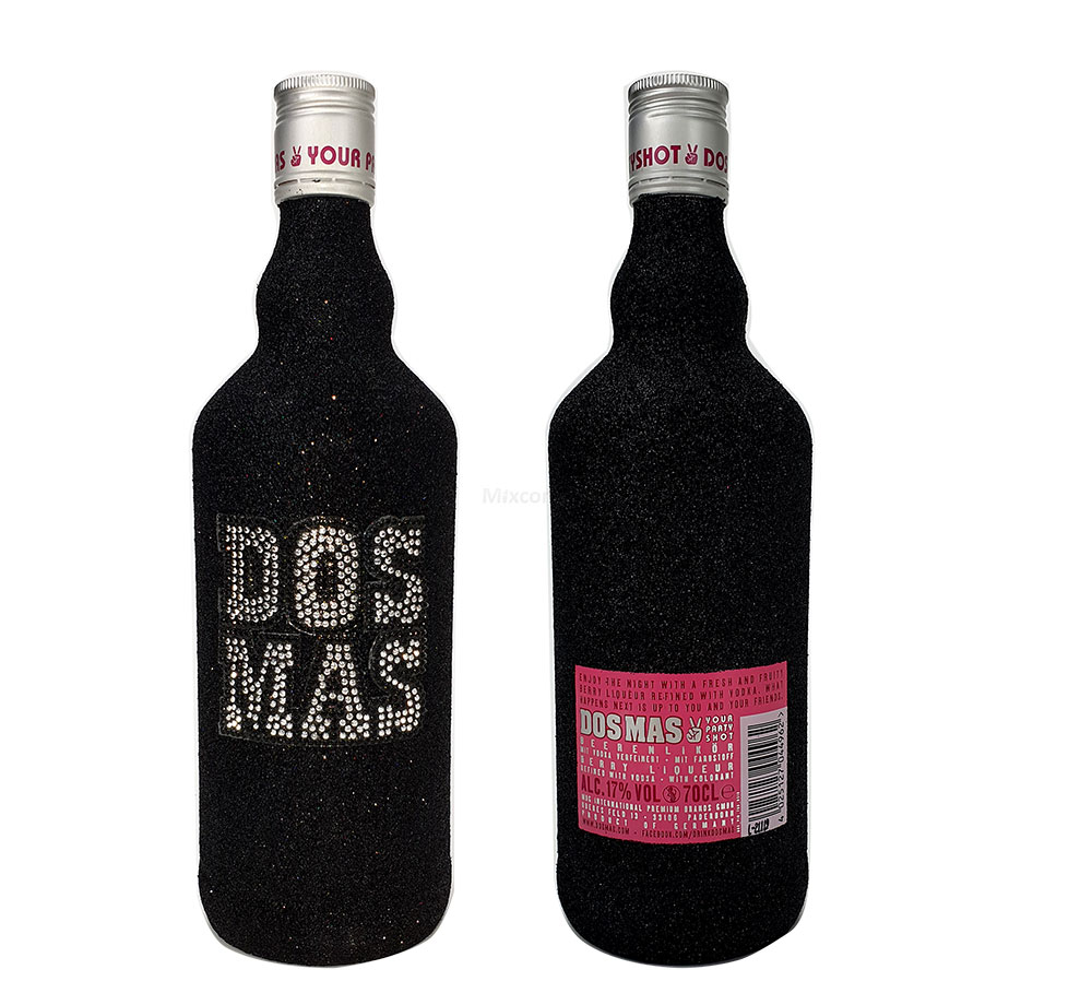 Dos Mas Pink Shot 0,7l 700ml (17% Vol) - Beerenlikör in Bling Bling / Glitzerflasche Schwarz.- [Enthält Sulfite]