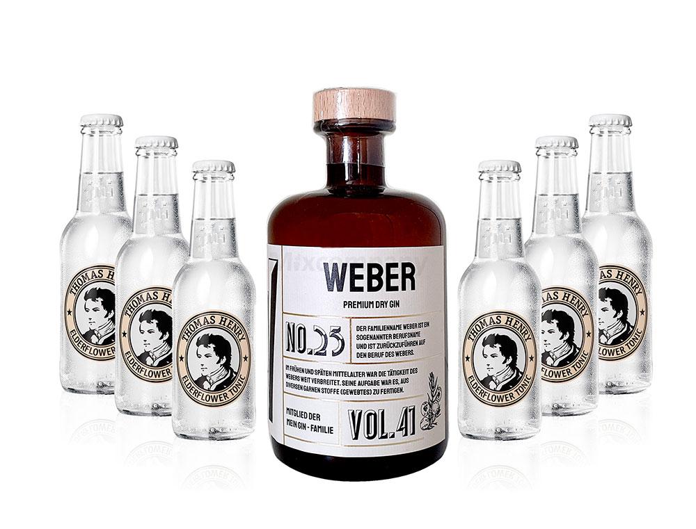 Mein Gin - Weber Premium Dry Gin 0,5l (41% Vol) - Weber s Gin No.25 + 6x Thomas Henry Elderflower Tonic 200ml inkl. Pfand MEHRWEG -[Enthält Sulfite]