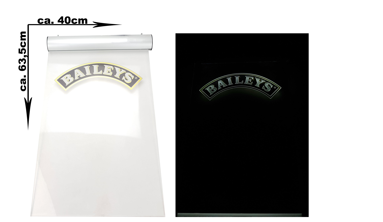 Baileys Irish Cream Leuchtschild Werbeschild Werbetafel Eddingtafel Leuchtreklame LED Beleuchtet mit Netzteil - ca. 40x63,5cm
