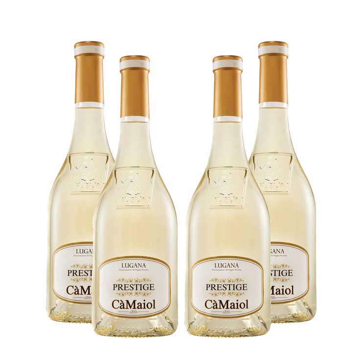Prestige Lugana 4er Set Ca Maiol 4x 0,75L (13% Vol) Weißwein aus Italien- [Enthält Sulfite]