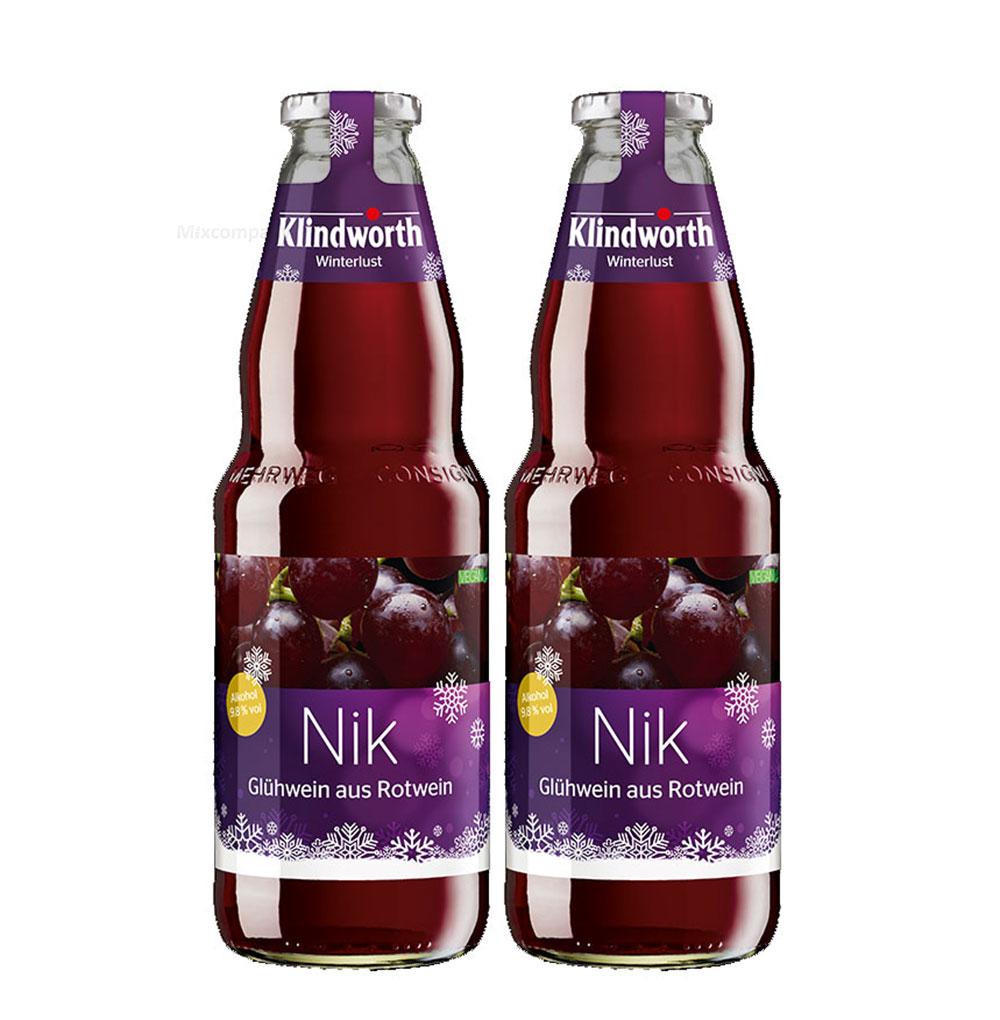 Klindworth Nik 2x Glühwein aus Rotwein - 2x Winterlust Glühwein 1L (9,8% Vol) inkl. Pfand MEHRWEG- [Enthält Sulfite]