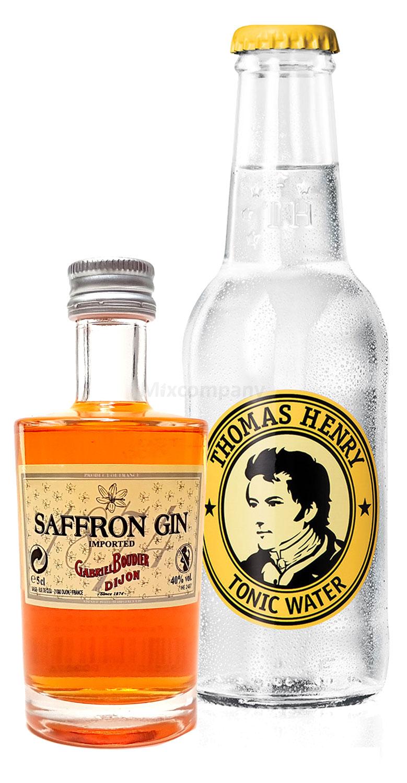 Gin Tonic Probierset - Saffron Gin 50ml (40% Vol) + Thomas Henry Tonic Water 200ml inkl. Pfand MEHRWEG