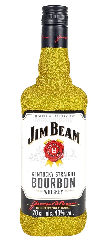 Jim Beam Bourbon Whiskey 0,7l 700ml (40% Vol) Bling Bling Glitzerflasche in gold -[Enthält Sulfite]