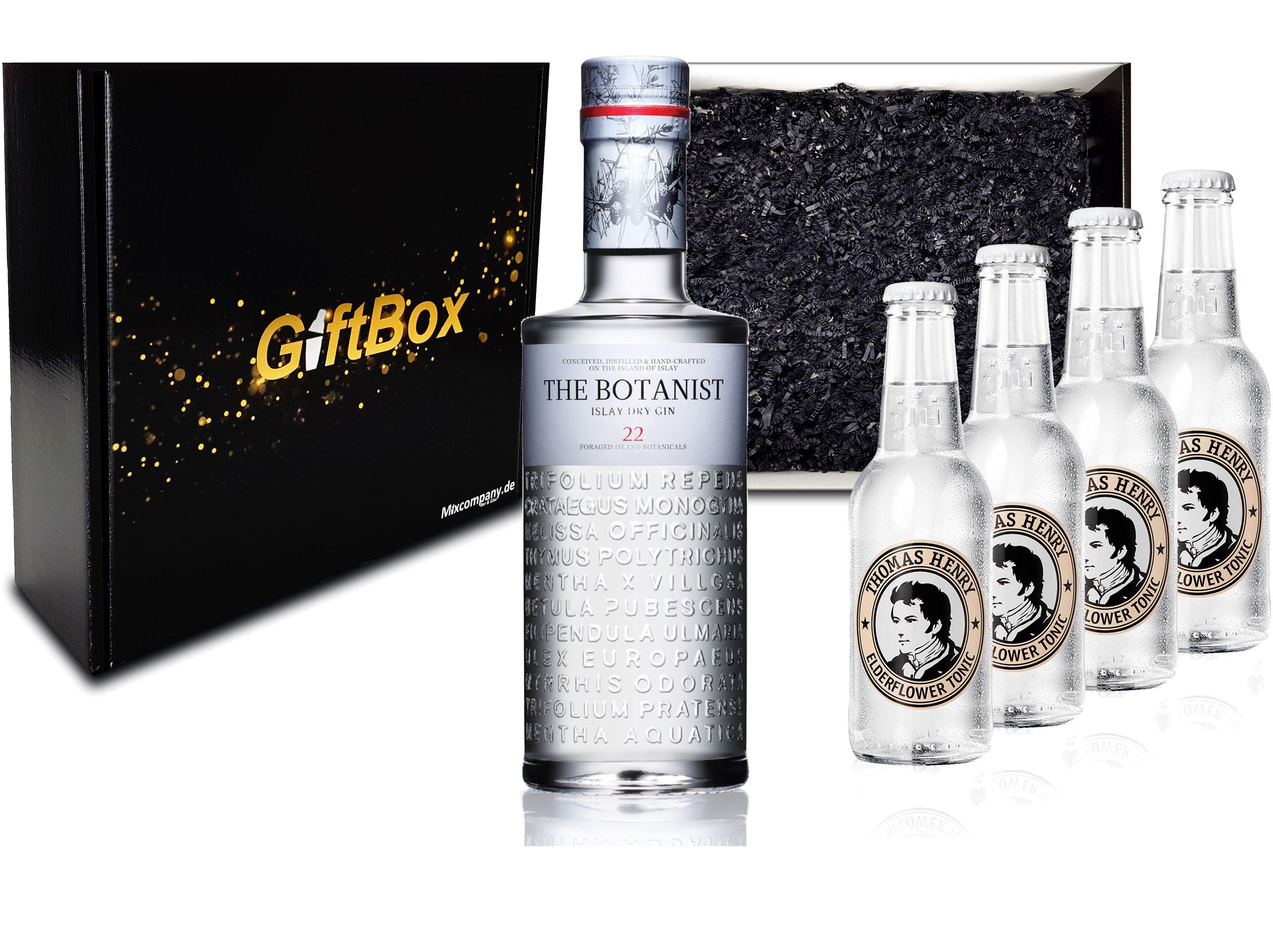 Gin Tonic Giftbox Geschenkset - The Botanist Islay Dry Gin 0,7l 700ml (46% Vol) + 4x Thomas Henry Elderflower Tonic Water 200ml inkl. Pfand MEHRWEG + Geschenkverpackung