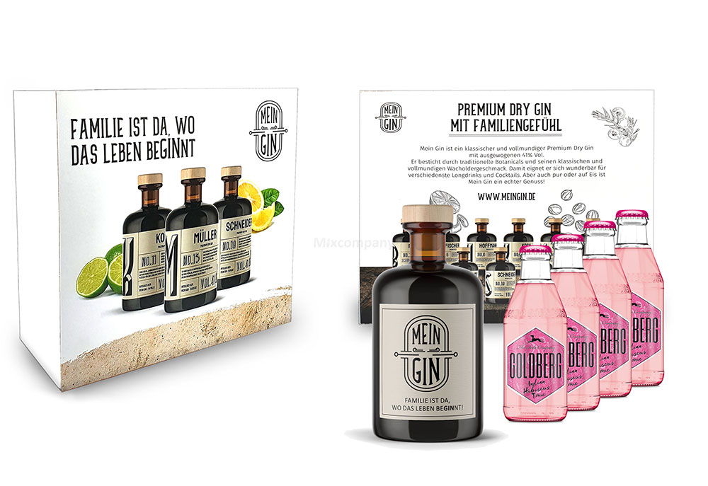 Mein Gin + Tonic Giftbox Geschenkset - Premium Dry Gin 0,5l (41% Vol) + 4x Goldberg Hibiscus Tonic Water 200ml inkl. Pfand MEHRWEG - [Enthält Sulfite]
