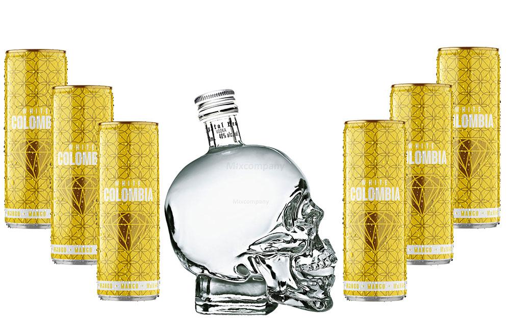 Crystal Head Vodka 700ml (40% Vol) + White Colombia Mango Set - Erfrischungsgetränk mit Mango-Maracuja-Geschmack - 6x 250ml inkl. Pfand EINWEG- [Enthält Sulfite]