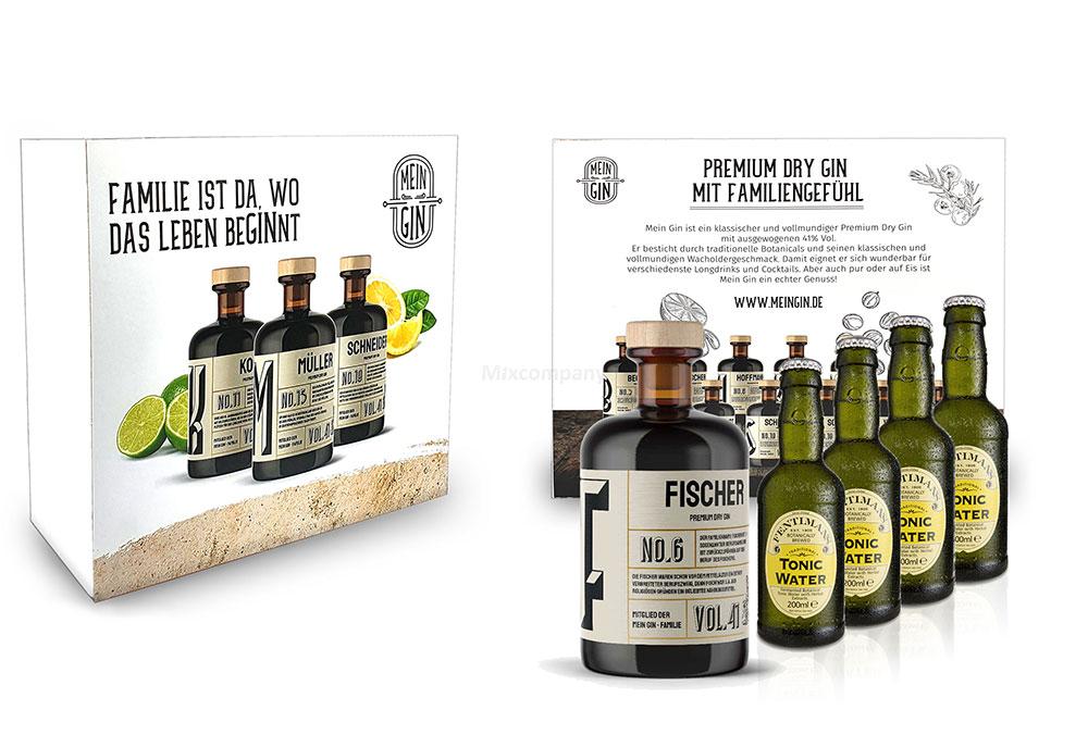 Mein Gin + Tonic Giftbox Geschenkset - Fischer Premium Dry Gin 0,5l (41% Vol) - Fischer s Gin No.6 + 4x Fentimans Tonic Water 200ml inkl. Pfand MEHRWEG -[Enthält Sulfite]