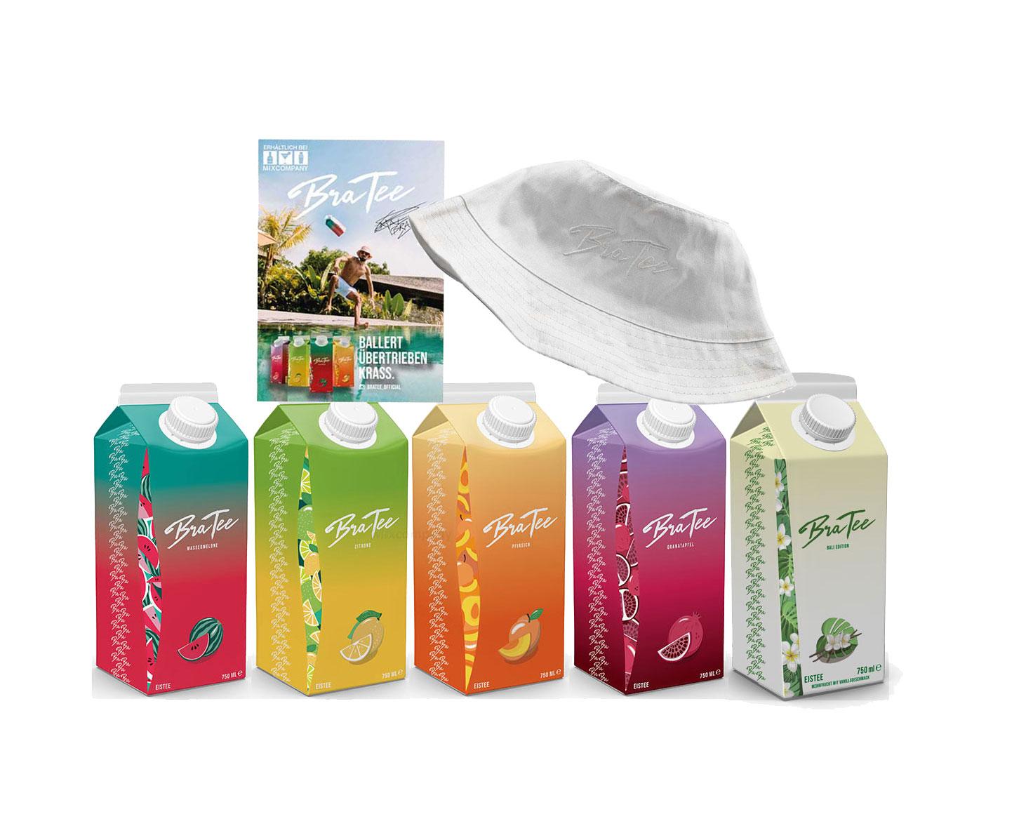 Capital BraTee 5er Tasting Set Eistee mit Special Bali Edition je 750ml + Autogrammkarte und Hut BRATEE Limited Edition Ice tea Wassermelone + Zitrone + Pfirsich + Granatapfel + Mehrfrucht mit Vanillegeschmack