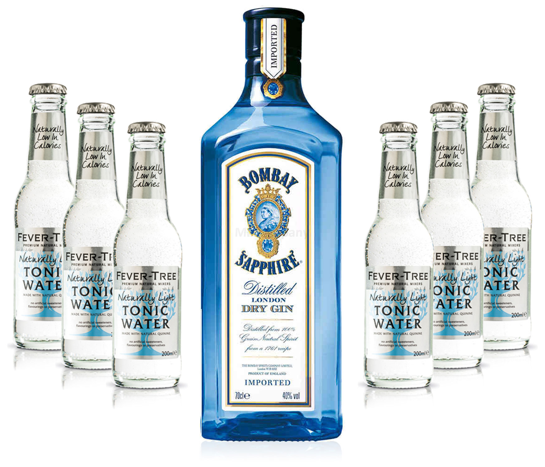 Gin Tonic Set - Bombay Sapphire 0,7l 700ml (40% Vol) + 6x Fever Tree Naturally Light Tonic Water 200ml - Inkl. Pfand MEHRWEG