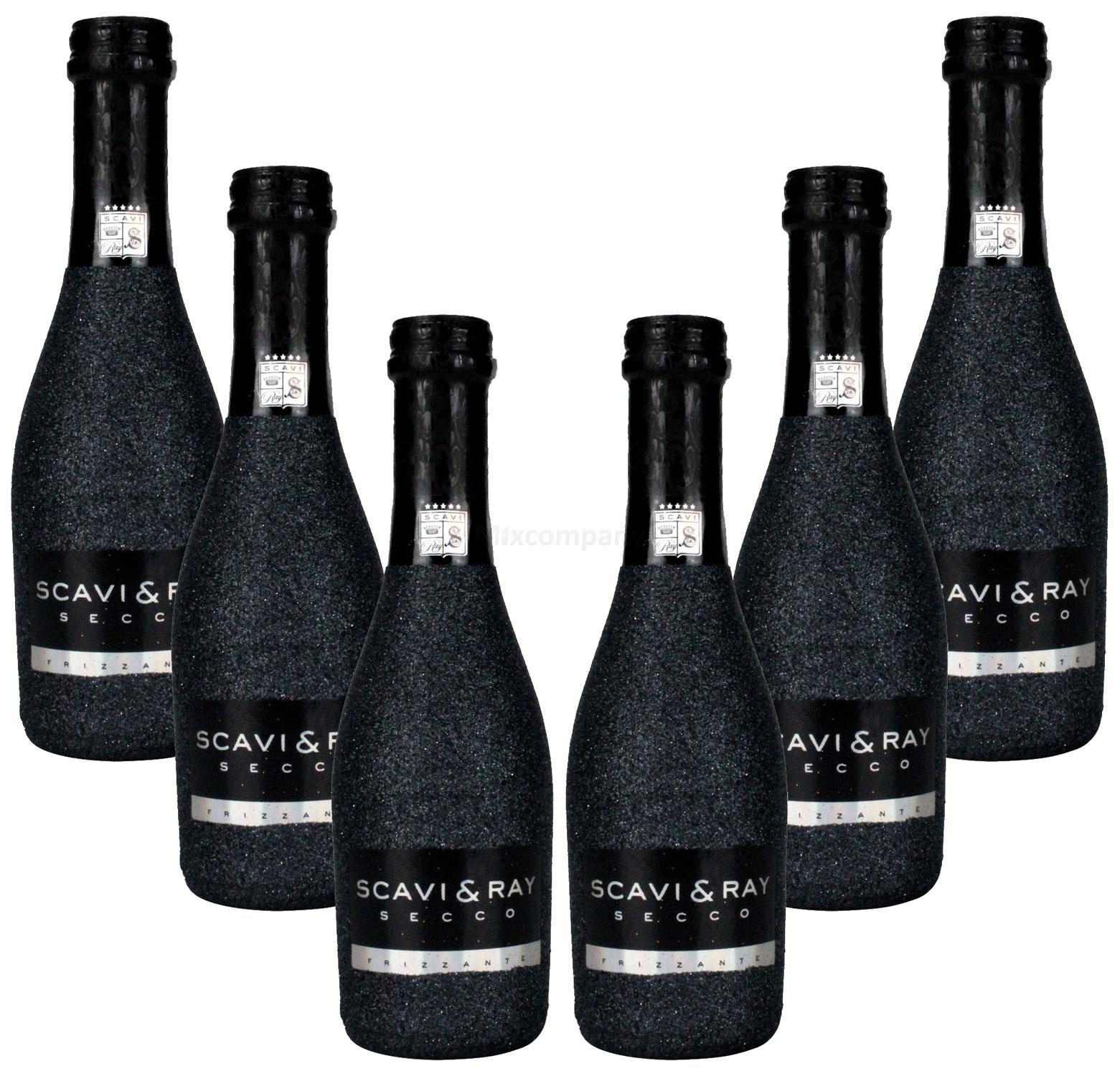 Scavi & Ray Secco Frizzante Piccolo 0,2l (10,5% Vol) Bling Bling Glitzerflasche in schwarz Aktion - 6 Stück (6x 0,2l = 1,2L) -[Enthält Sulfite]