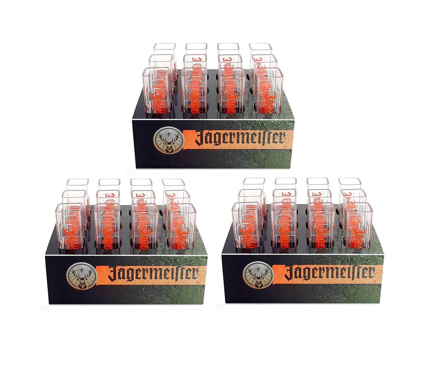 Jägermeister Becher Shotglas Schnapsglas Reagenzgläser aus Kunststoff mit Halter Aktion - 36x Gläser + 3x Papp Halter
