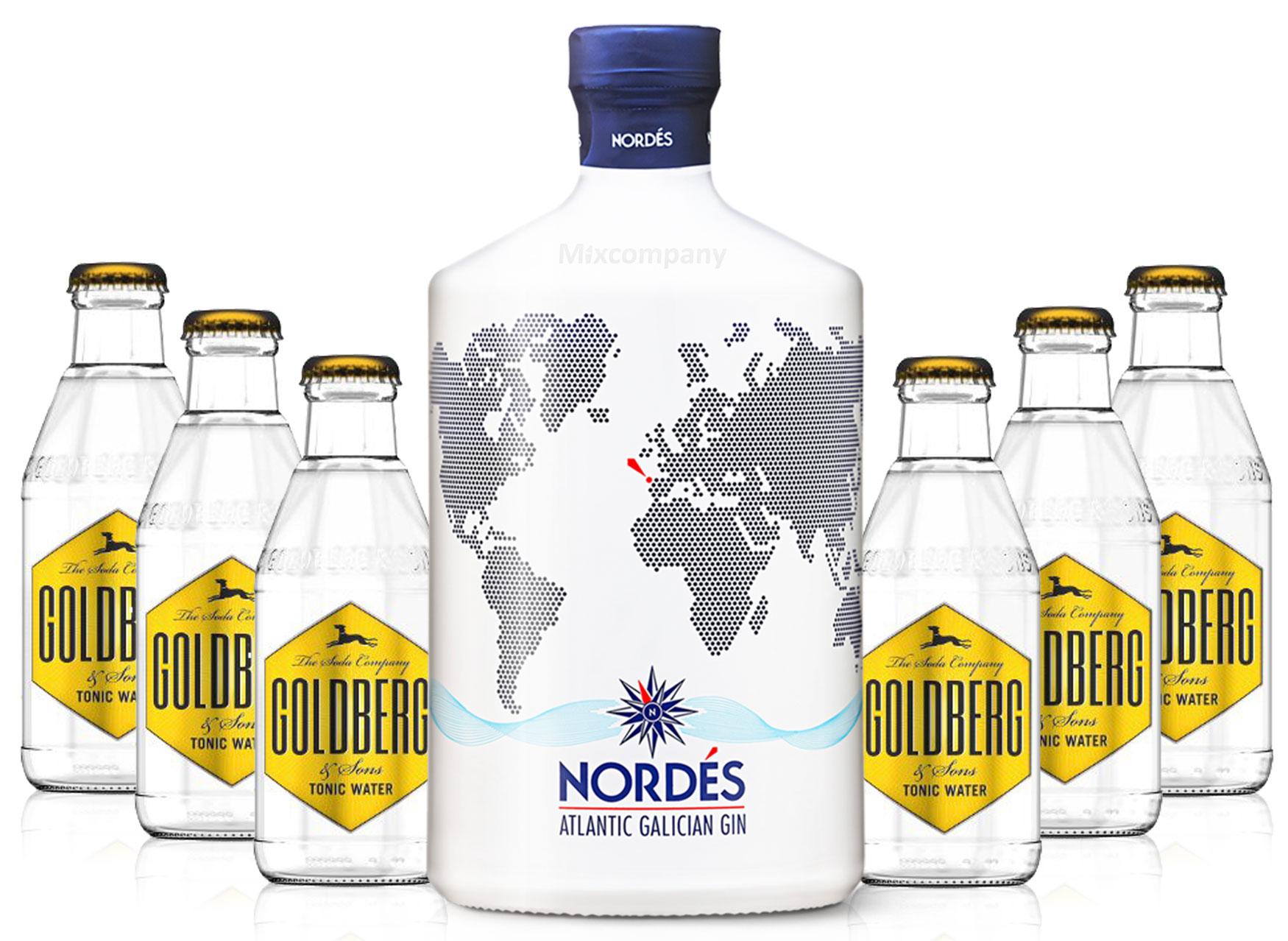 Nordes Atlantic Galician Gin aus Galizien 0,7l (40% Vol) + 6x Goldberg Tonic Water 0,2l MEHRWEG inkl. Pfand- [Enthält Sulfite]