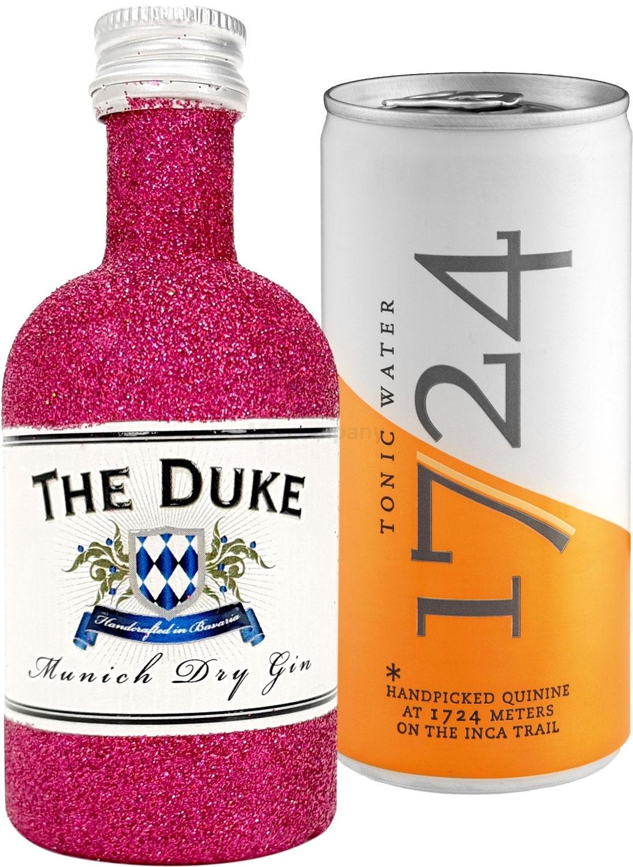Gin Tonic Bling Bling Mini Probierset - The Duke Munich Dry Gin 50ml (45% Vol) Glitzerflasche Hot Pink + 1724 Tonic Water 200ml inkl. Pfand EINWEG -[Enthält Sulfite]