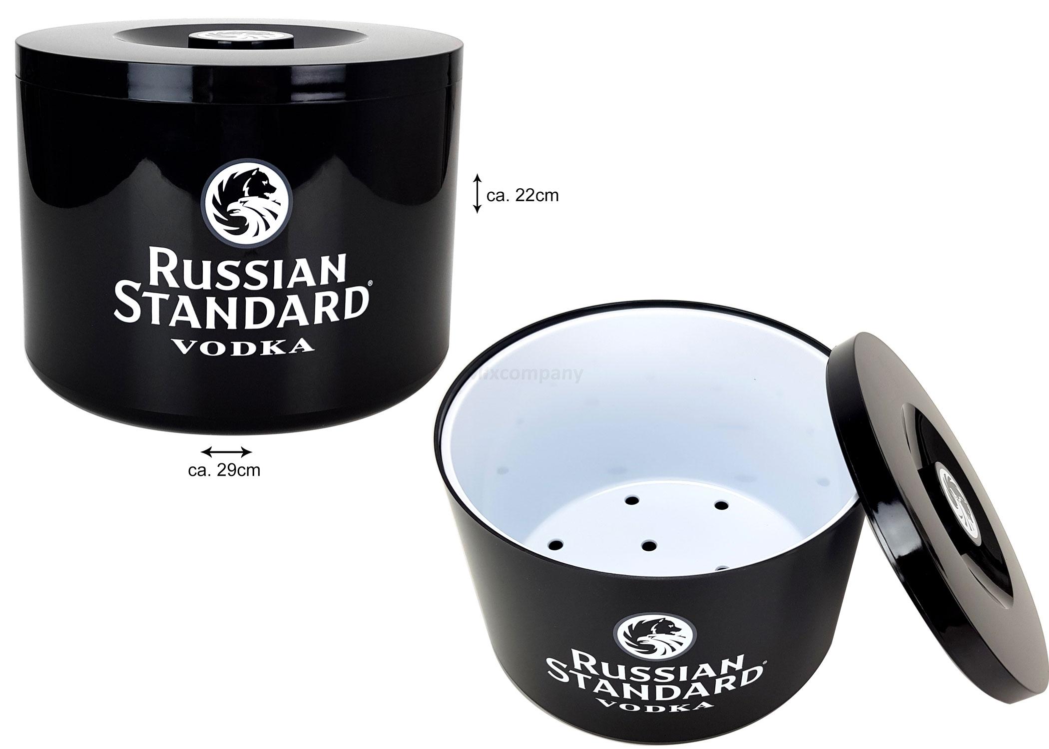 Russian Standard Vodka Flaschenkühler Eisbox Eiskübel schwarz weiß