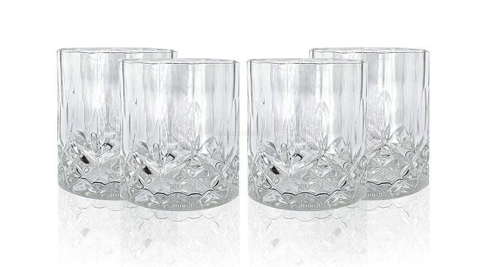 Mixcompany Tumbler Glas / 4er Gläser Set - 4x Whisky Tumbler / Kristall Design Whiskey Glas
