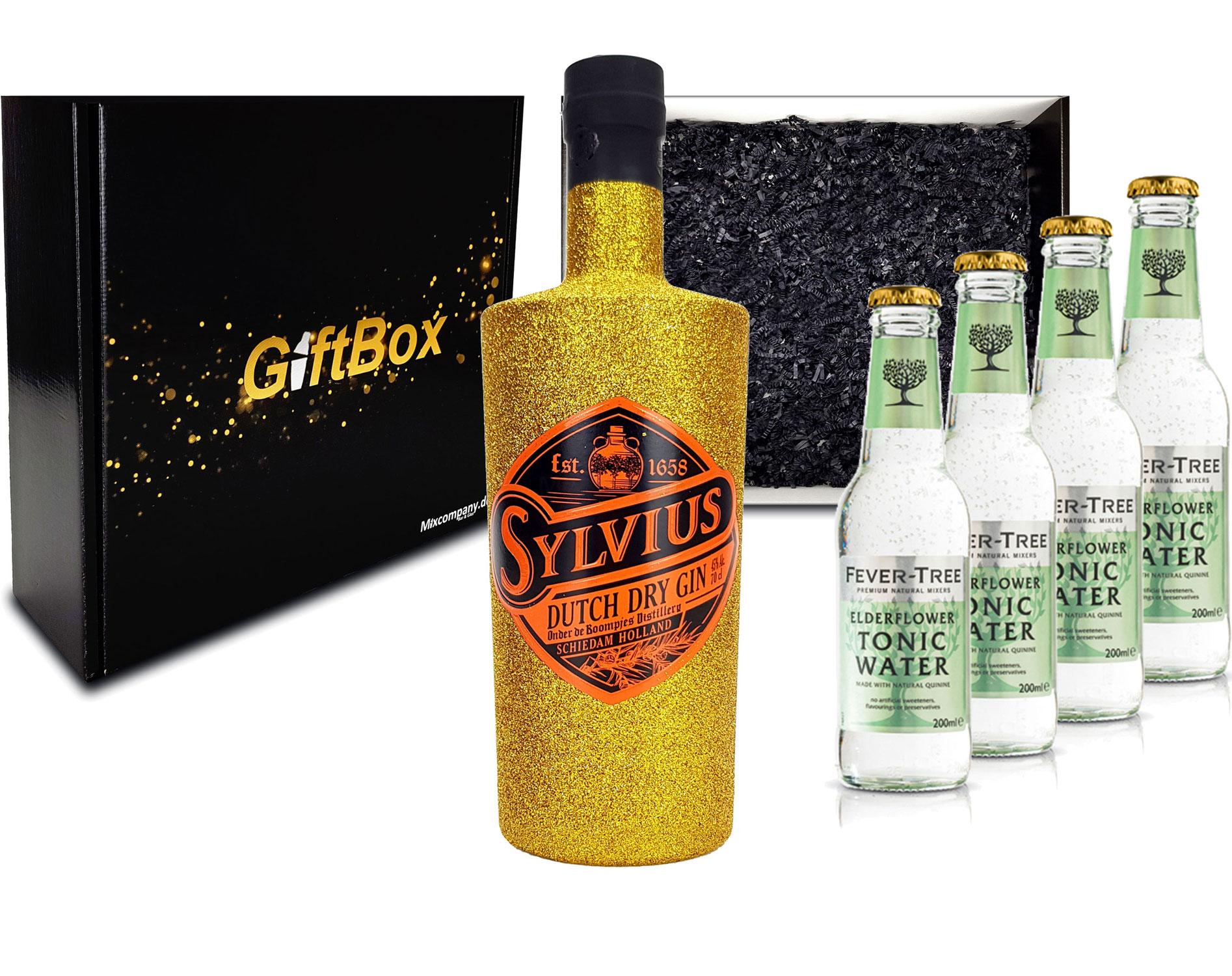 Gin Tonic Giftbox Geschenkset - Sylvius Dutch Gin Bling Bling Glitzerflasche Gold 0,7l 700ml (45% Vol) + 4x Fever Tree Elderflower Water 200ml inkl. Pfand MEHRWEG - [Enthält Sulfite]