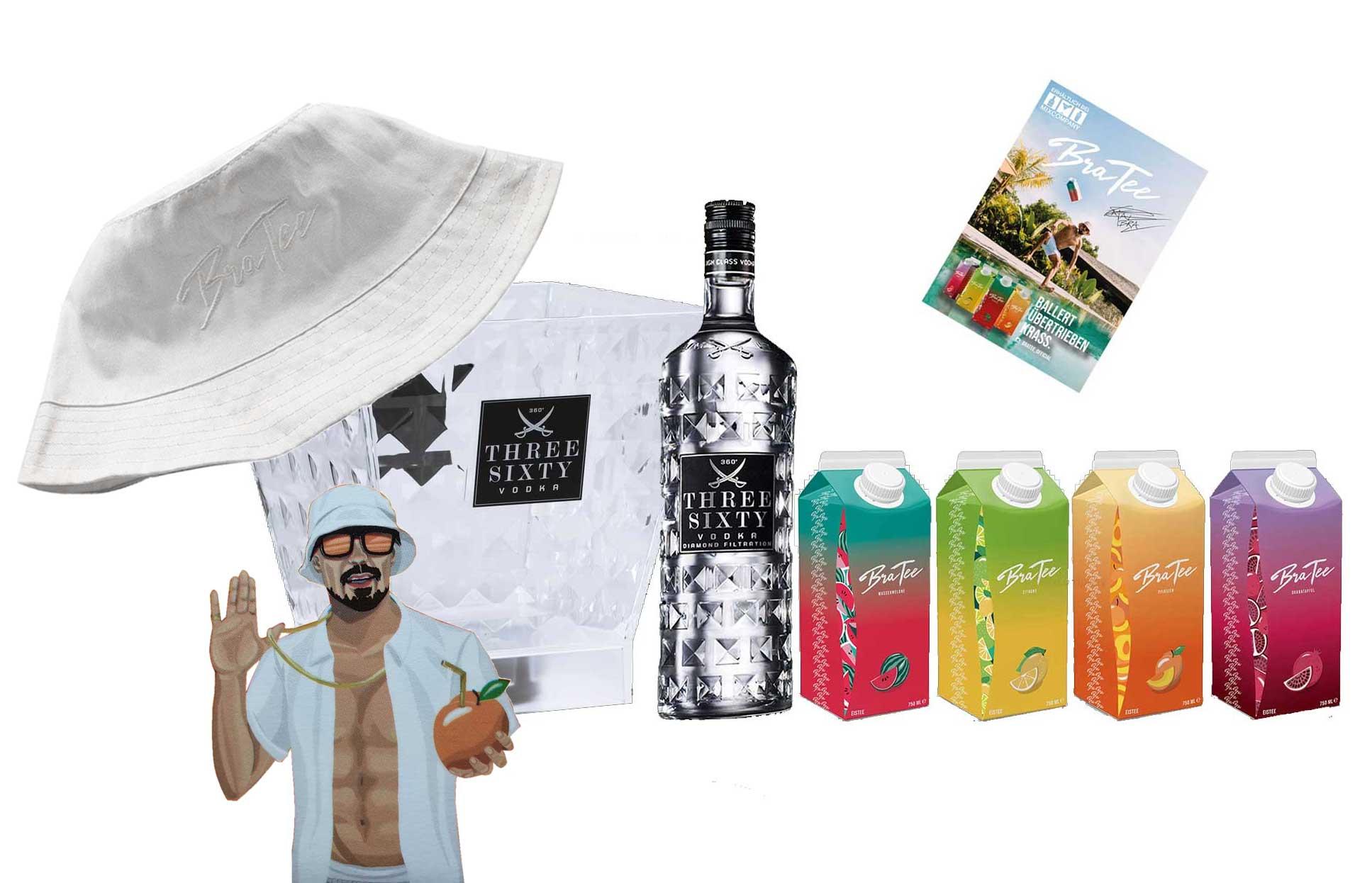 Three Sixty Set Vodka 0,7L (37,5% Vol) mit LED Eisbox und Capital BraTee 4er Tasting Set + Hut + Autogrammkarte BRATEE Eistee je 750ml BRATEE Ice tea Wassermelone Zitrone Pfirsich Granatapfel - [Enthält Sulfite]