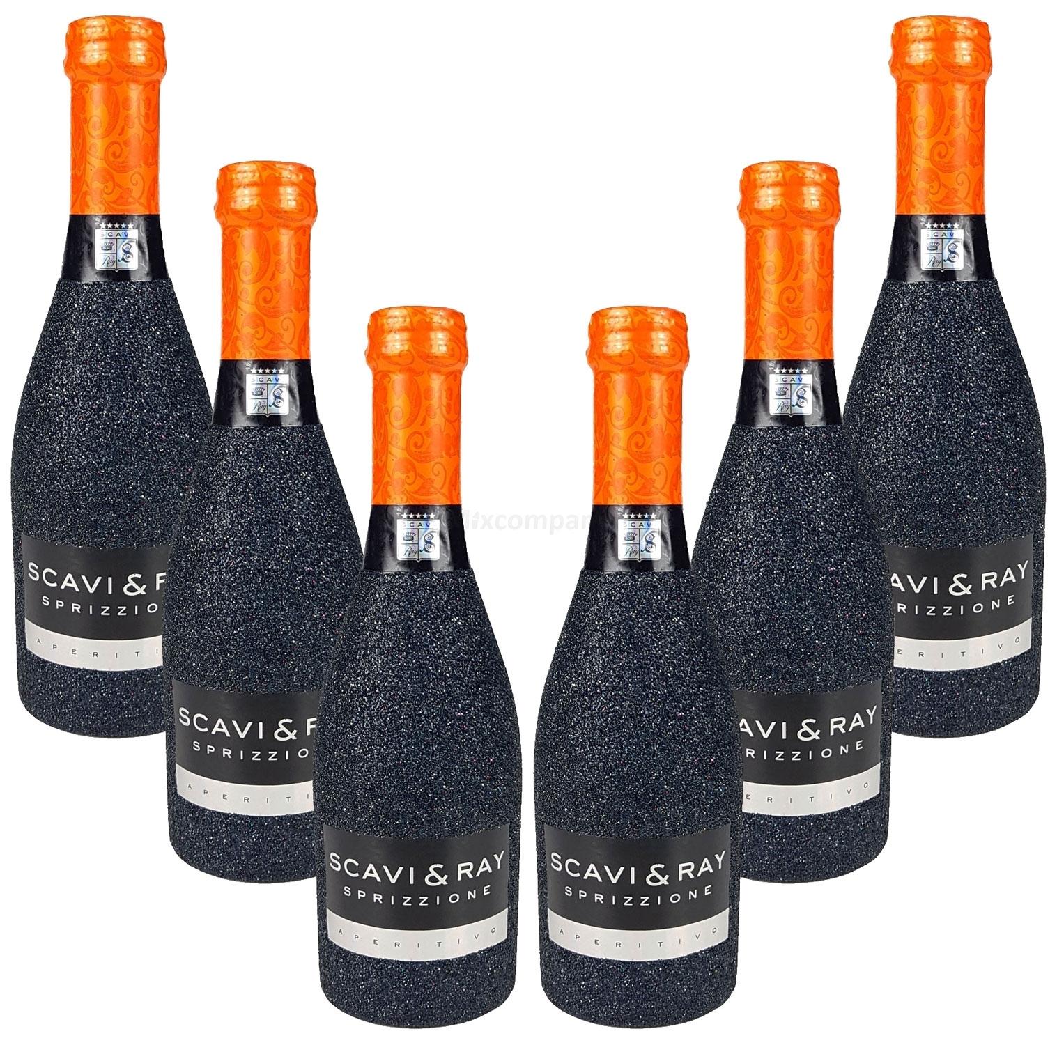 Scavi & Ray Sprizzione Aperitivo 20cl (8% Vol) - Bling Bling Glitzerflasche in schwarz Aktion - 6 Stück (6x 0,2l = 1,2l) -[Enthält Sulfite]