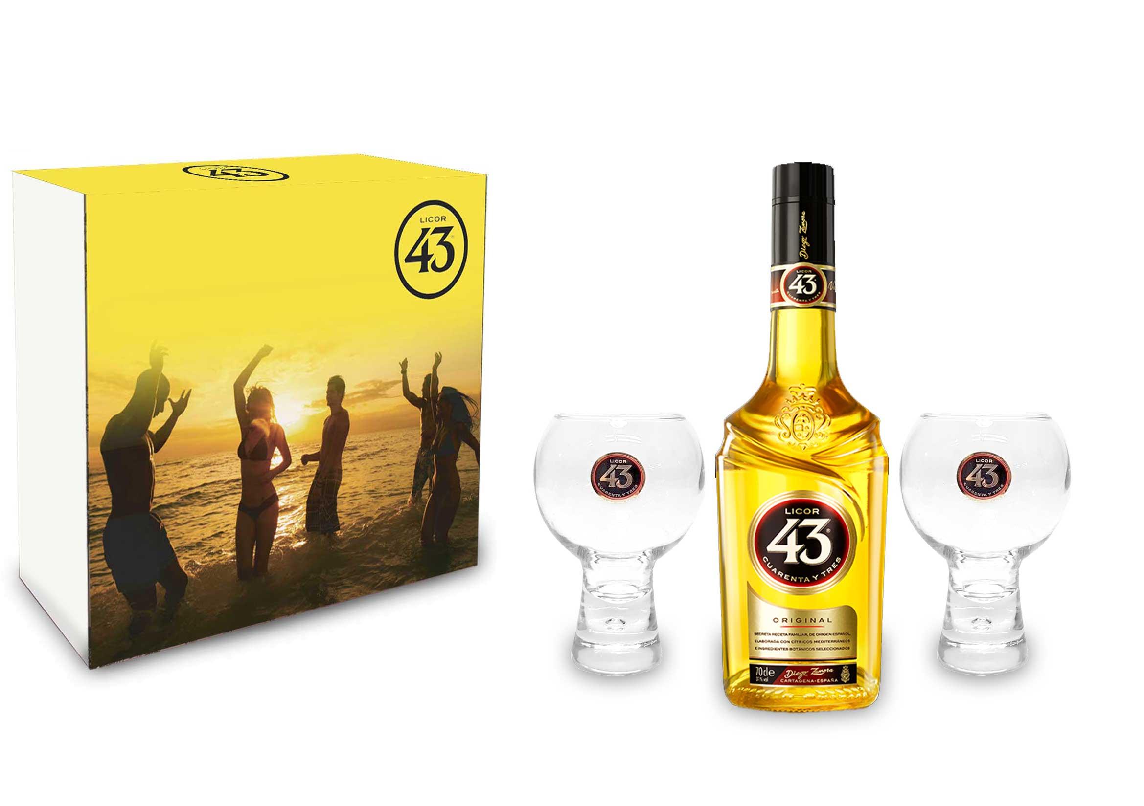 Licor 43 Schuber Geschenkbox Set / Geschenkset - Licor 43 Liqueur 0,7L (31% Vol) + 2x Gläser Likör Liquor 43er