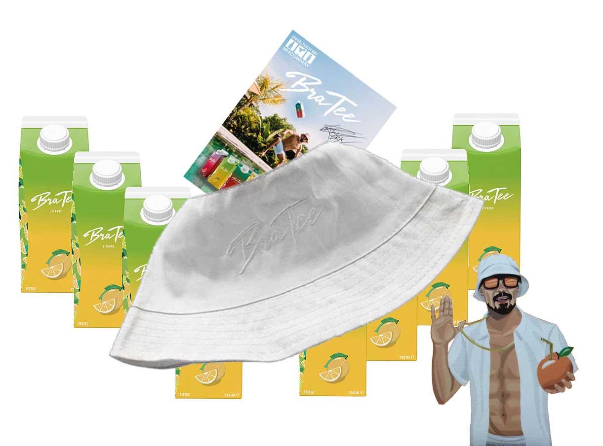 Capital BraTee 8er Set Eistee Zitrone Lemon 750ml mit Autogrammkarte und Hut Ice tea - BRATEE übertrieben frisch, ohne viel Heck-Meck