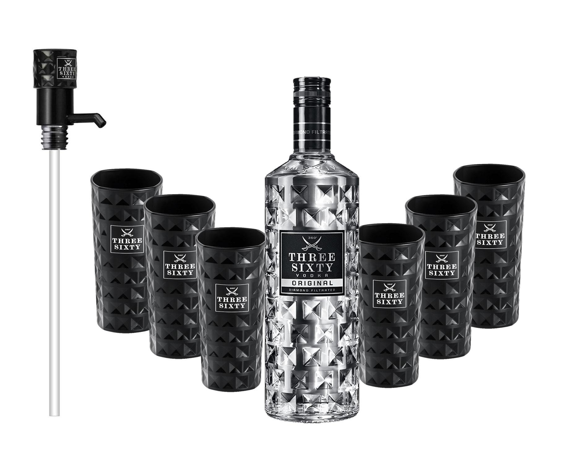 Three Sixty Vodka 3L (37,5% Vol) + Pumpe + 6x Black Longdrink Gläser eckig schwarz -[Enthält Sulfite]