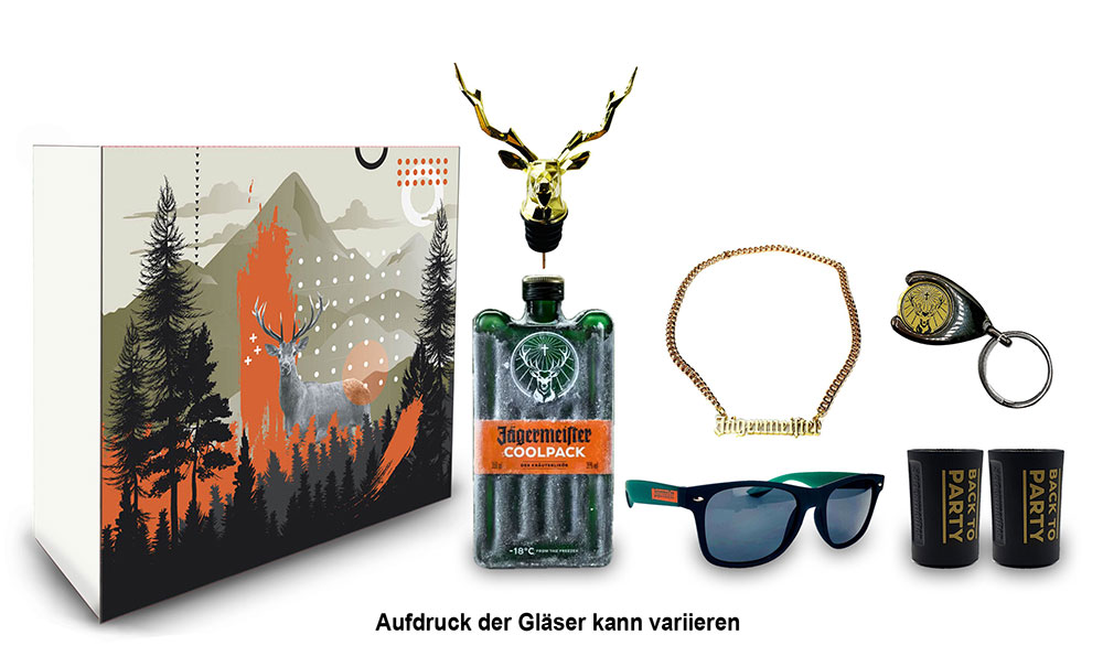 Jägermeister Schuber Geschenkset - 7teilig mit Jägermeister Coolpack 0,35l (35% Vol) Kräuterlikör Bar Drink- [Enthält Sulfite]