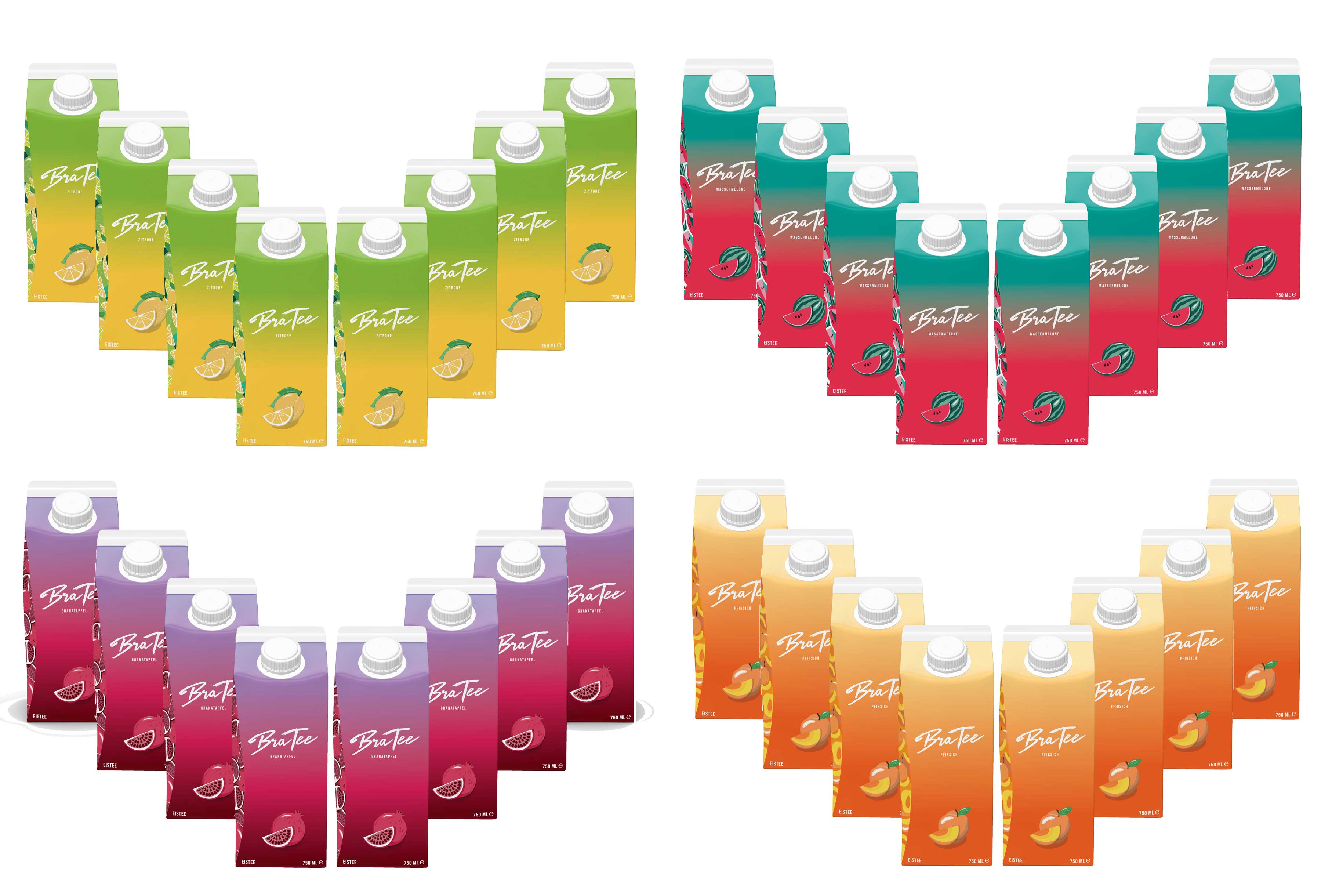 Capital BraTee 32er Tasting Set 8 pro Geschmackssorte Eistee je 750ml BRATEE Ice tea 8x Wassermelone 8x Zitrone 8x Pfirsich 8x Granatapfel - mit Capi-Qualitäts-Siegel