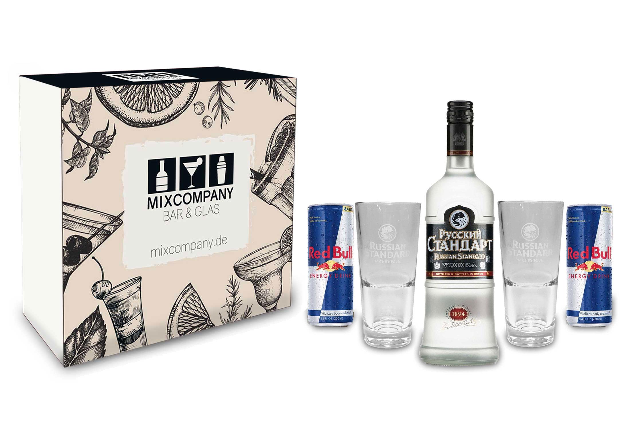 Russian Standard Vodka Set / Geschenkset -Russian Standard Vodka 0,7l 700ml (40% Vol) + 2x Gläser + 2x Red Bull 250ml - Inkl. Pfand EINWEG