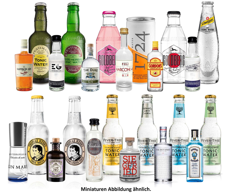 Gin Tonic Probierset aus 24 Flaschen - 12x Verschiedene Gin Sorten + 12x Verschiedene Tonic Sorten - Inkl. Pfand MEHRWEG - NEU
