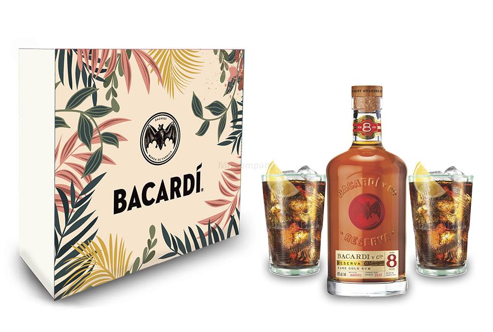 Bacardi Geschenkset - Bacardi Ron 8 Anos Gran Reserva 8 Jahre Rum 0,7l (40% Vol) + 2er Set Gläser / Longdrink Glas - [Enthält Sulfite]