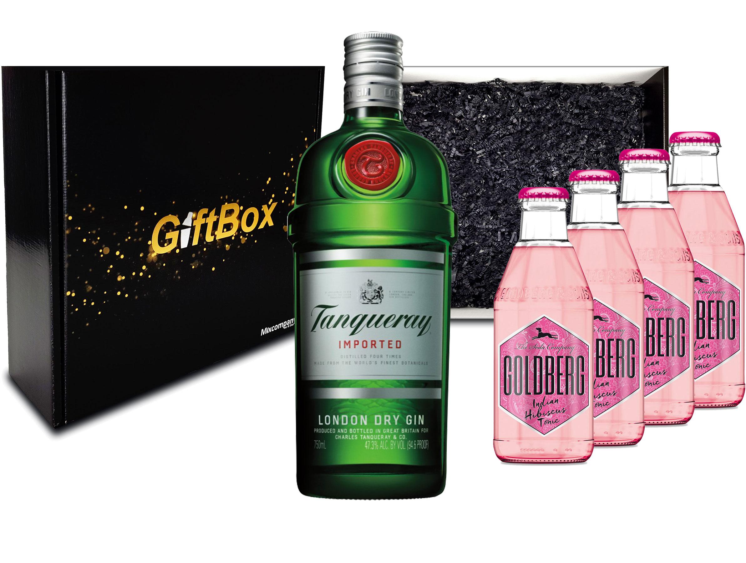 Gin Tonic Set Giftbox Geschenkset - Tanqueray London Dry Gin 0,7l 700ml (47,3% Vol) + 4x Goldberg Indian Hibiscus Tonic 200ml inkl. Pfand MEHRWEG -[Enthält Sulfite]