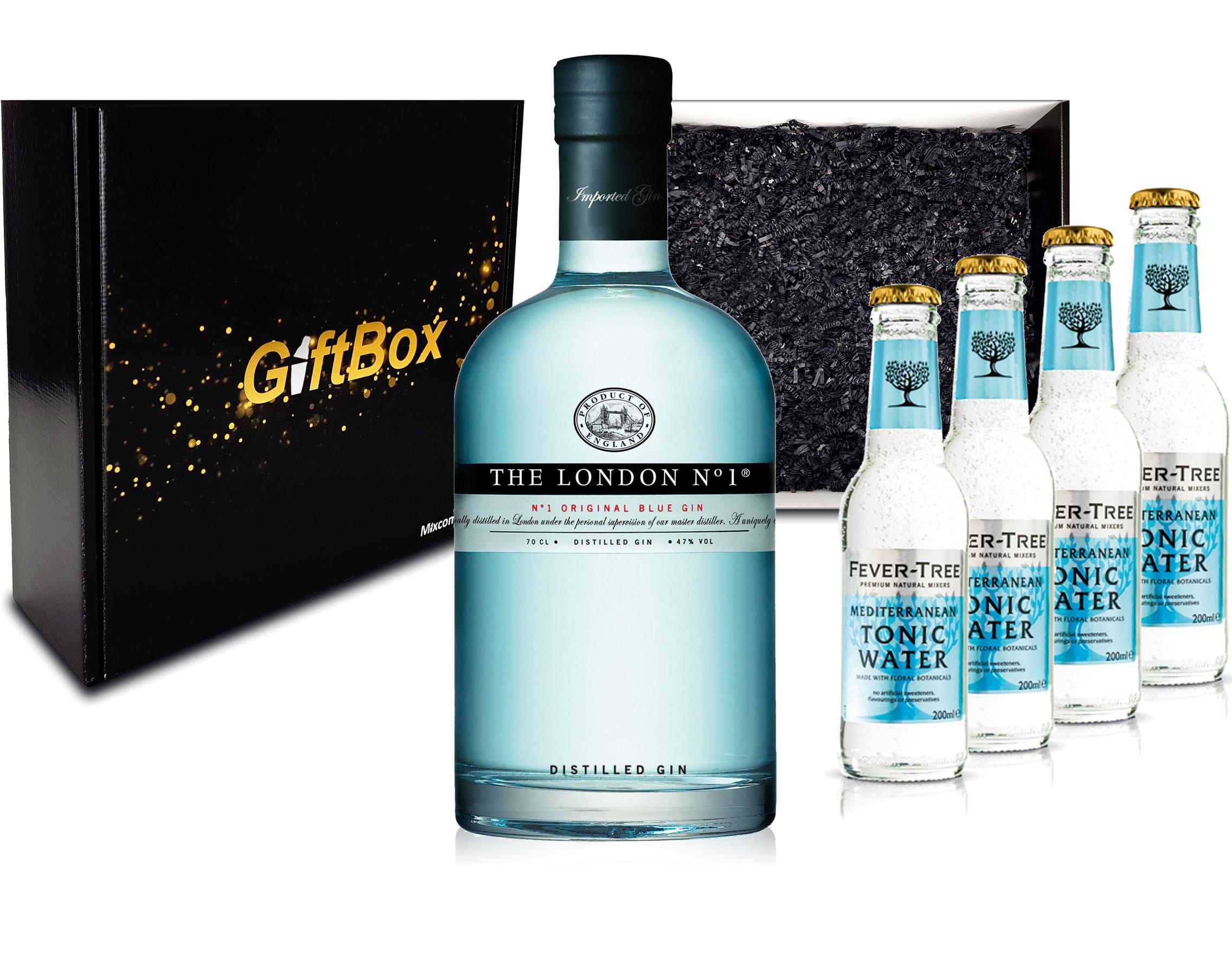 Gin Tonic Giftbox Geschenkset - The London N1 Blue Gin 0,7l 700ml (47% Vol) + 4x Fever Tree Mediterranean Tonic Water 200ml inkl. Pfand MEHRWEG + Geschenkverpackung