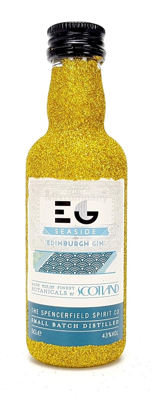 Edinburgh Seaside Gin Mini 50ml (43% Vol) - Bling Bling Glitzer Glitzerflasche Flaschenveredelung für besondere Anlässe - Gold -[Enthält Sulfite]
