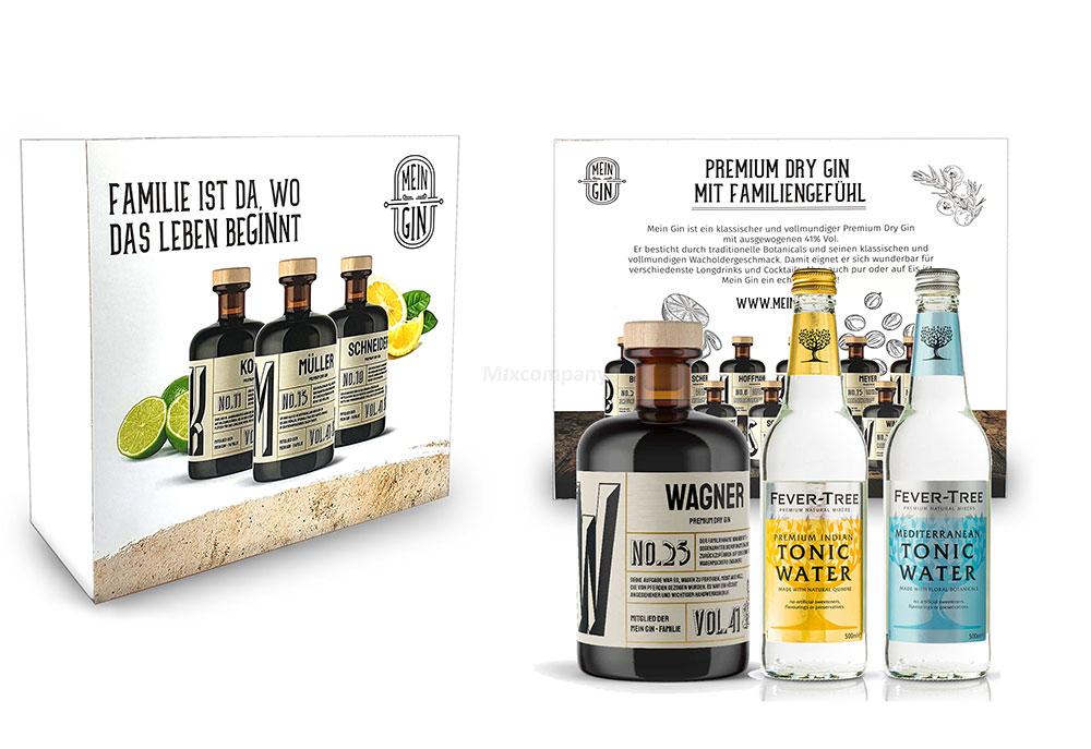 Mein Gin + Tonic Giftbox Geschenkset - Wagner Premium Dry Gin 0,5l (41% Vol) - Wagner s Gin No.25 + 1x Fever-Tree Indian Tonic Water + 1x Fever-Tree Mediterranean Tonic Water a 500ml inkl. Pfand MEHRWEG -[Enthält Sulfite