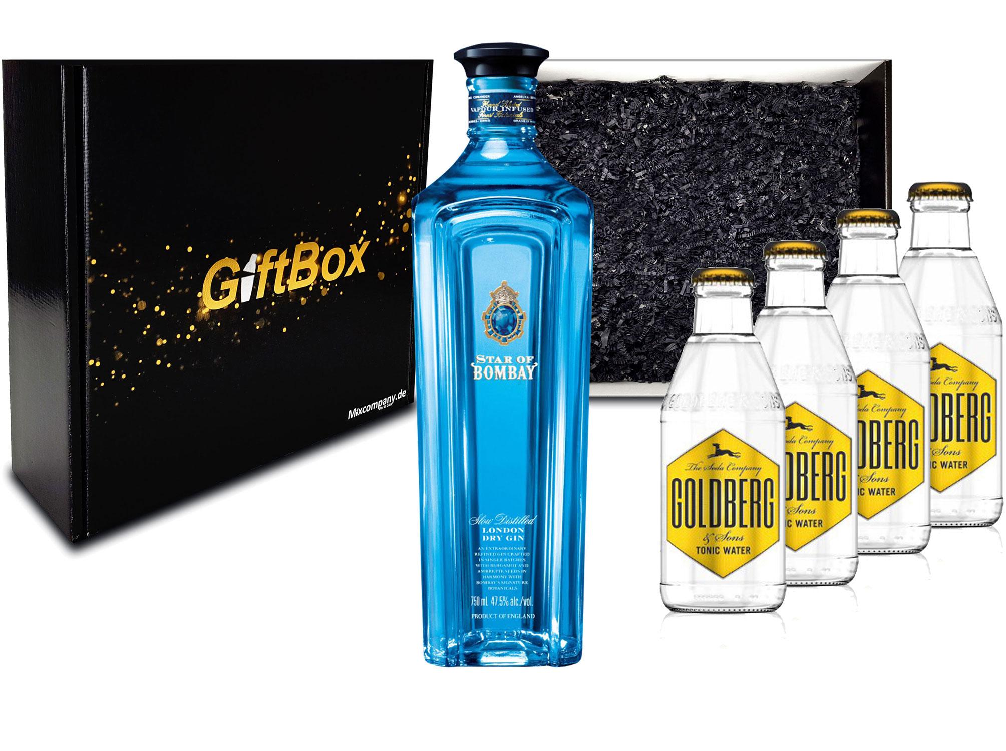 Gin Tonic Giftbox Geschenkset - Star of Bombay Slow Distilled London Dry Gin 0,7l (47,5% Vol) + 4x Goldberg Tonic Water 200ml inkl. Pfand MEHRWEG - [Enthält Sulfite]