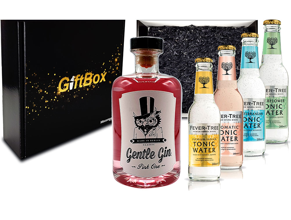 Mixcompany Giftbox - Gin Tonic Set Gin Tonic Set - Gentle Gin Pink One 0,5l (40% Vol) + 1x Fever-Tree Indian + 1x Aromatic + 1x Mediterranean + 1x Elderflower Tonic Water a 200ml inkl. Pfand MEHRWEG - in Geschenkverpacku