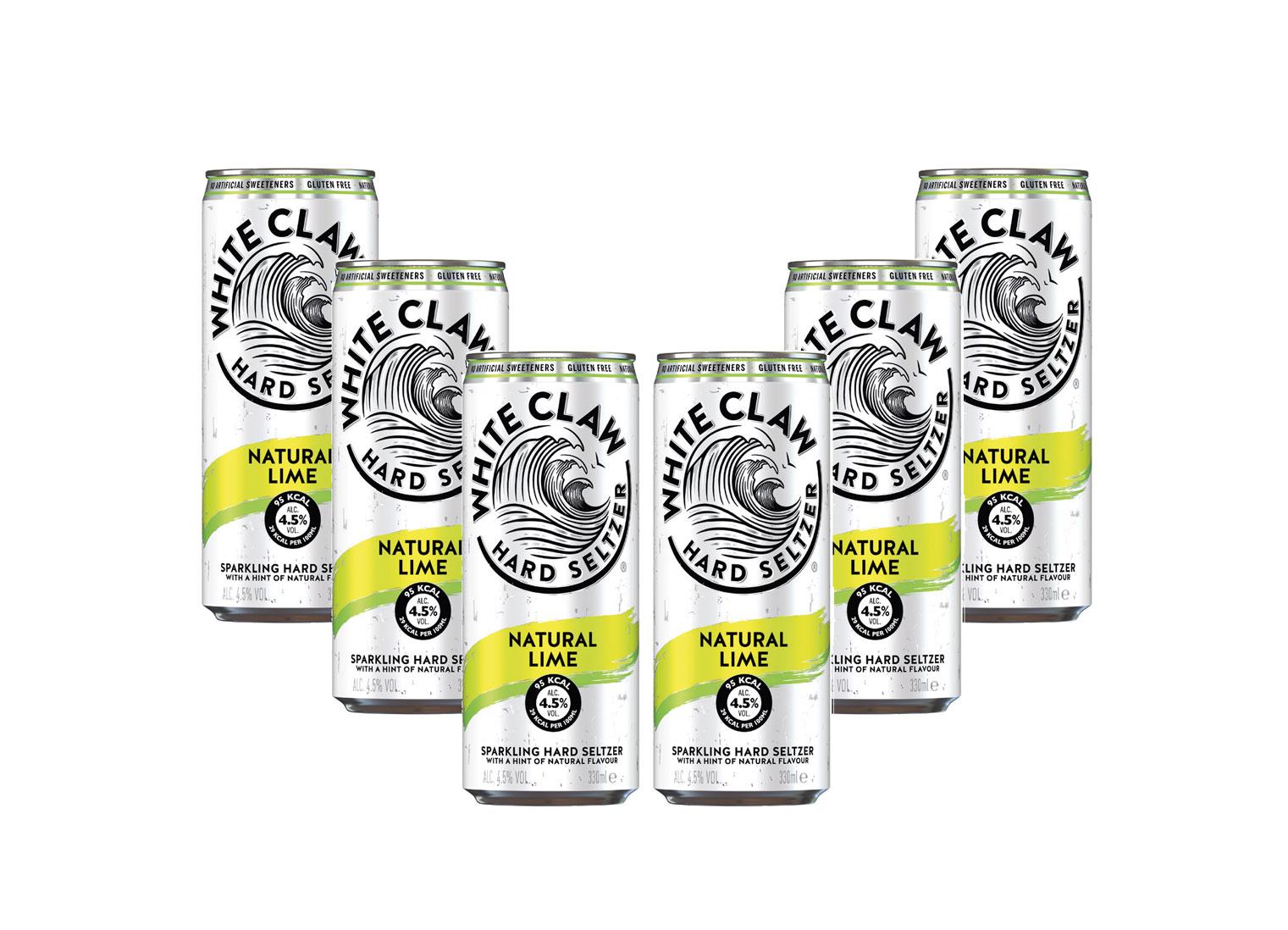 White Claw natural Lime 6er Set je 330ml (4,5% Vol) ready to drink / Longdrink sparkling hard seltzer - [Enthält Sulfite]