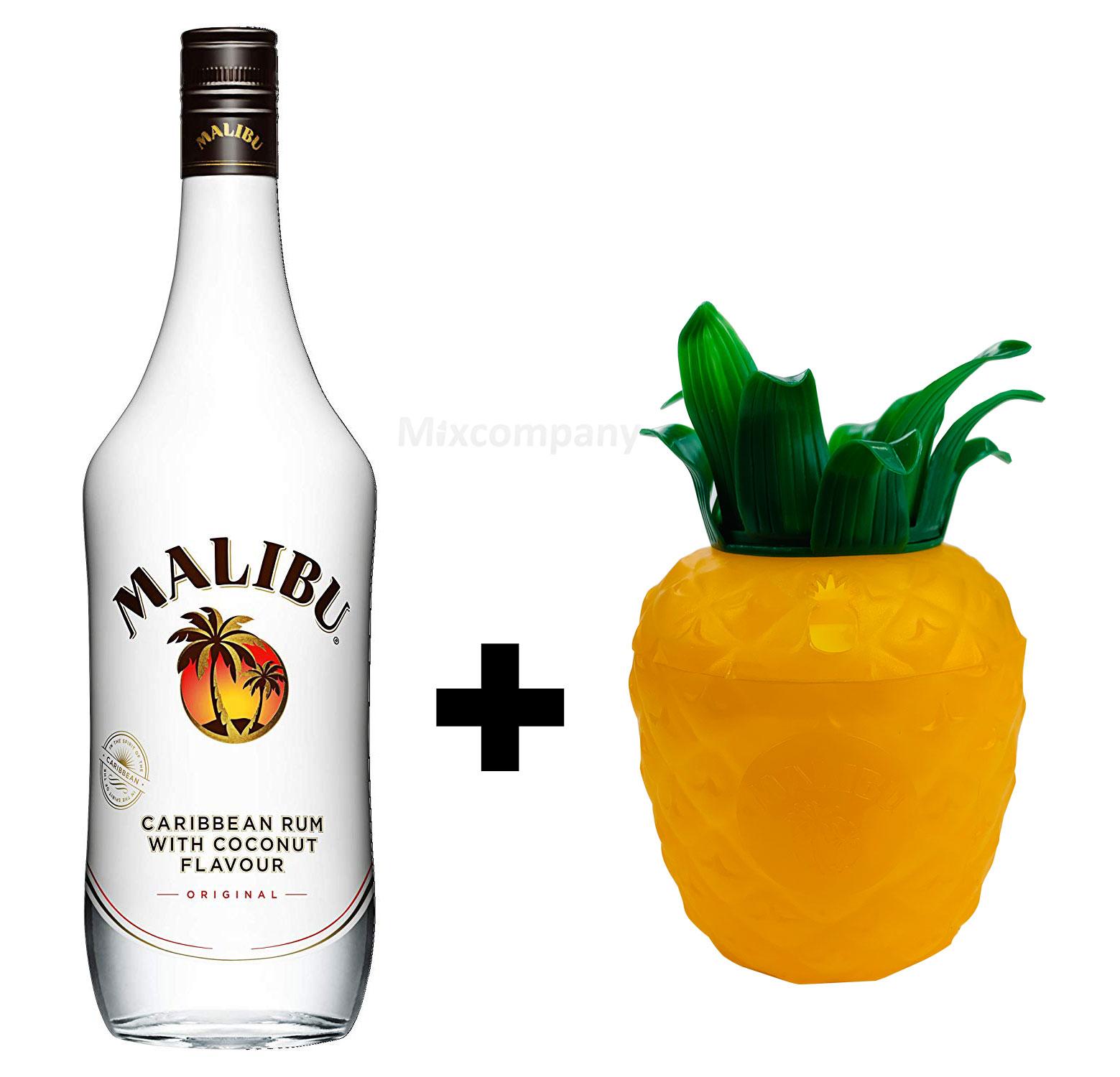Malibu Karibik Rum Kokos Aroma 0,7l 700ml (21% Vol) Caribbean Kokosrum + Malibu Cocktail Becher aus Kunststoff ananasform gelb ca. 0,3l 300ml Mehrweg Trinkbecher Cocktailbecher Ananas Glas Gläser- [Enthält Sulfite]